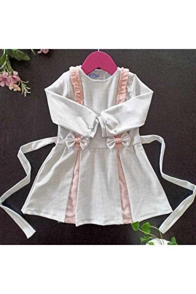 Kız Çocuk Beyaz Ve Pembe Desenli Elbise