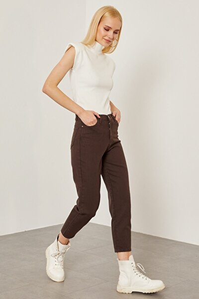 Gabardin Düz Mom Pantolon