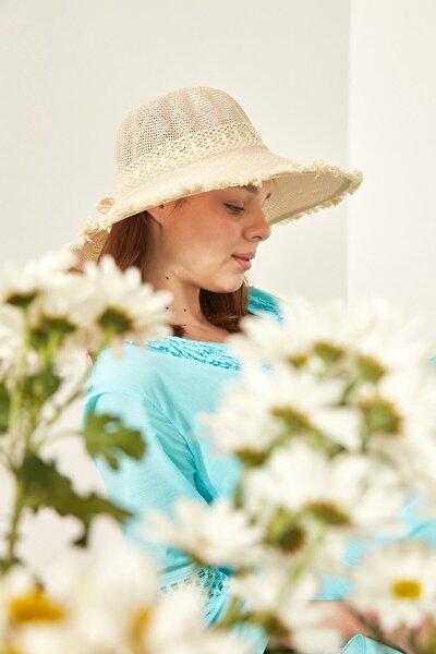 Kadın Merserize Şapka T1740-14 Açık Bej