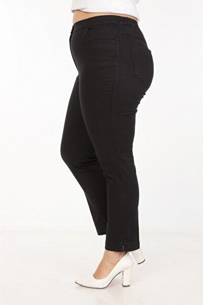 Büyük Beden Beli Lastik Detaylı Bilek Siyah Kot Pantolon