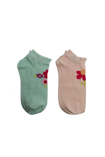 Çiçek Desenli Yazlık Patik Çorap 2 Li