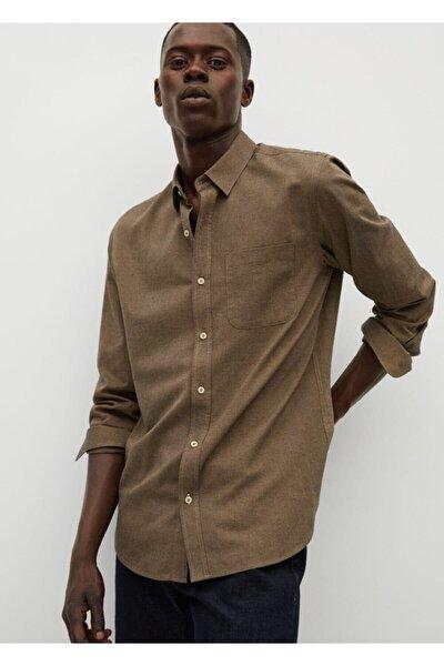 Erkek Kahverengi Dar Kesimli Modal Pamuklu Gömlek