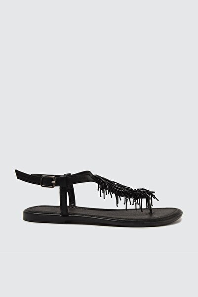 Siyah Boncuklu Kadın Sandalet TAKSS21SD0003