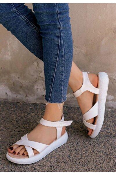 Leahy Cırt Cırtlı Poli Taban Beyaz Cilt Sandalet