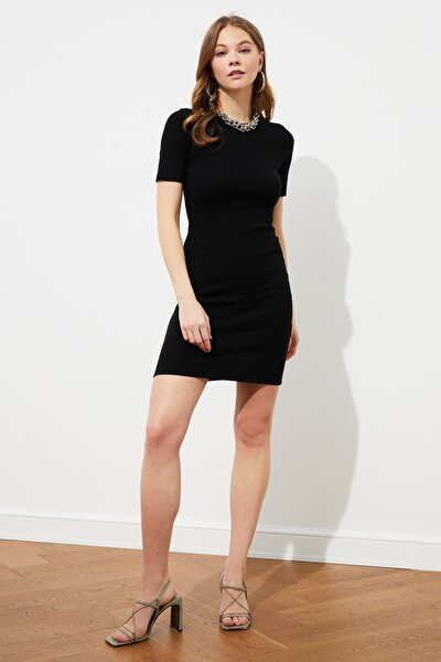 Siyah Mini Örme Elbise TWOSS19AD0053