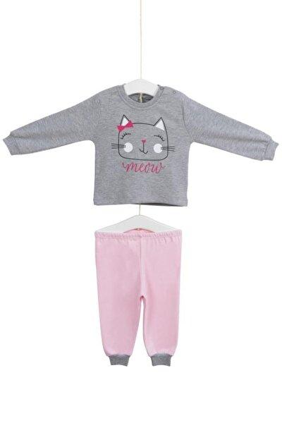 Kız Bebek Pembe Gri Kedicik Baskılı Pijama Takımı 6-24 Ay 9413