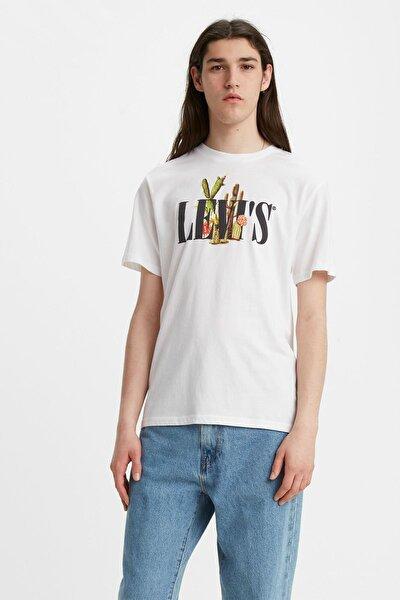 Erkek Beyaz Serif Crewneck T-shirt 22491-0731