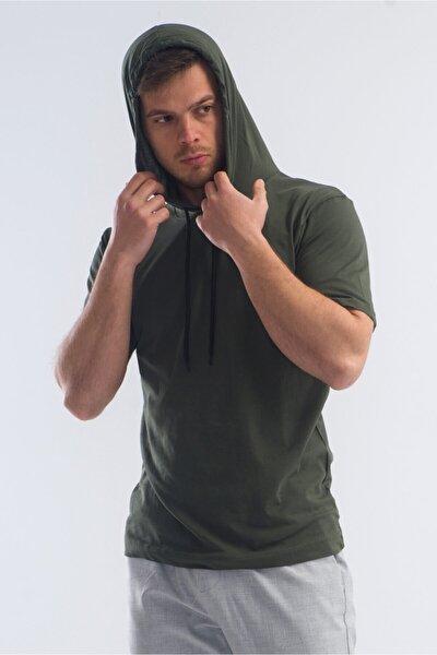 Erkek Haki Kapüşonlu Basic T-shirt