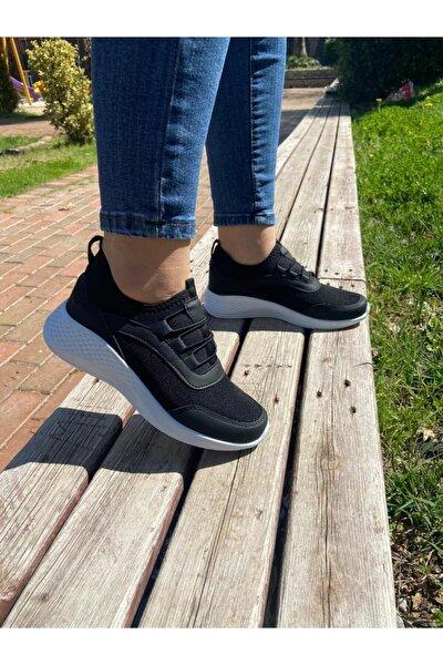 Unisex Siyah Beyaz Lastikli Sneaker Spor Ayakkabı