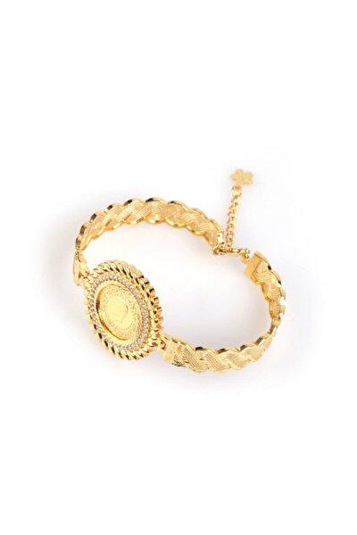 Kadın 22 Ayar Altın Kaplama Bilezik Modeli Çerçeveli Çeyrek Bileklik