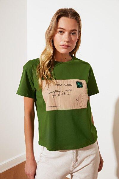 Yeşil Baskılı Semi-Fitted Bisiklet Yaka Örme T-Shirt TWOSS21TS2774