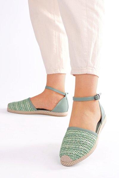 Kadın Yeşil Hasır Espadril Sandalet