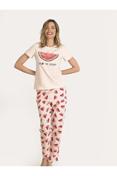 Kadın Somon Karpuzlu Pijama Takımı 67149