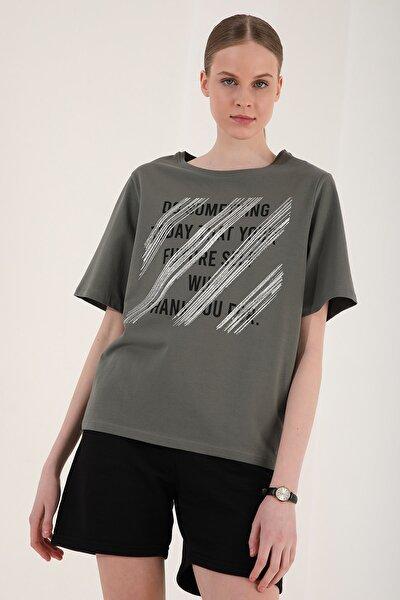 Kadın Çağla Deforme Yazı Baskılı Oversize O Yaka T-shirt - 97133