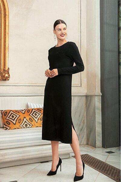 Siyah Fitilli Elbise 127396