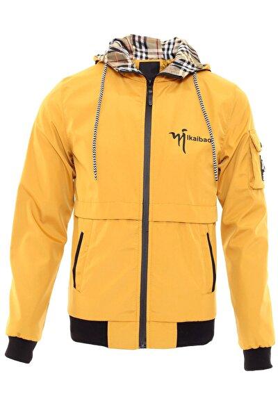 Erkek Sarı Su İtici Kumaş Kapüşonlu Yazlık Mevsimlik İnce Ceket