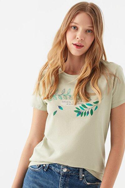 Kadın Yaprak Baskılı Yeşil Tişört 1600068-32131