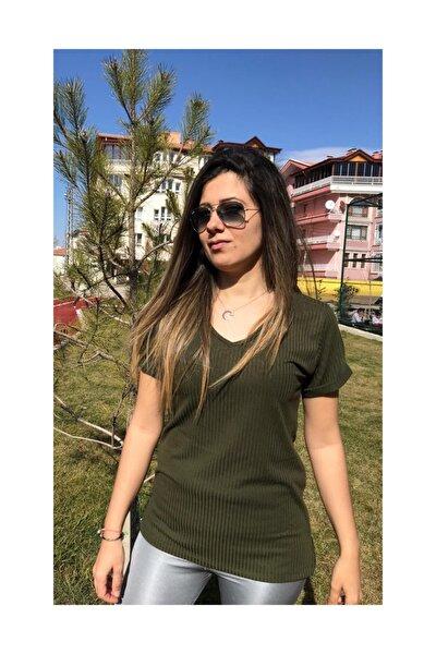 Kadın Haki Renk Şeritli  T Shirt