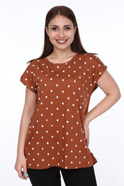 Kadın Kahverengi Büyük Beden Puantiye Desen Baskılı Tshirt
