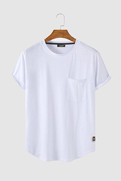Erkek Yuvarlak Yaka Oval Kesim Cepli Basic T-shirt Stk306-0000001-1-2 Beyaz