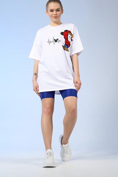 Kadın Beyaz Mickey Mouse Oversize Tshirt