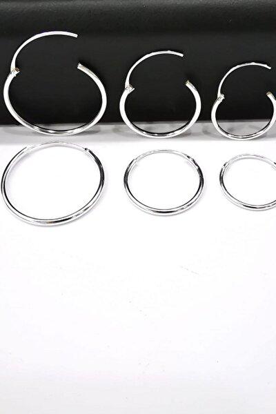 Silver Kadın Ithal Gümüş Halka Küpe Seti 3'lü Set Hoop Earing Complete 16-20-25 Mm