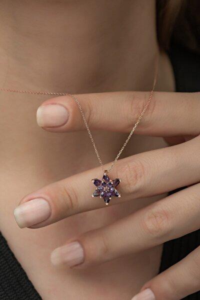 Kadın Gümüş Mor Taşlı Lotus Çiçeği Kolye 925 Ayar