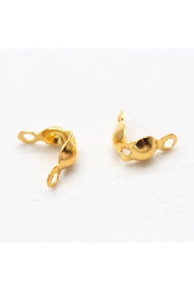 Çift Halkalı Sarı Kaplama Demir 4mm Düğüm Kapama - Misina Kapama ,takı Yapım Aparatı (500 Adet)