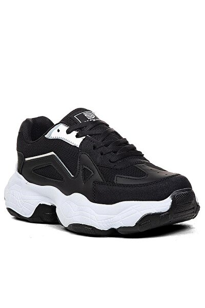 Kadın Siyah Beyaz Bağcıklı Sneaker Drkstp141