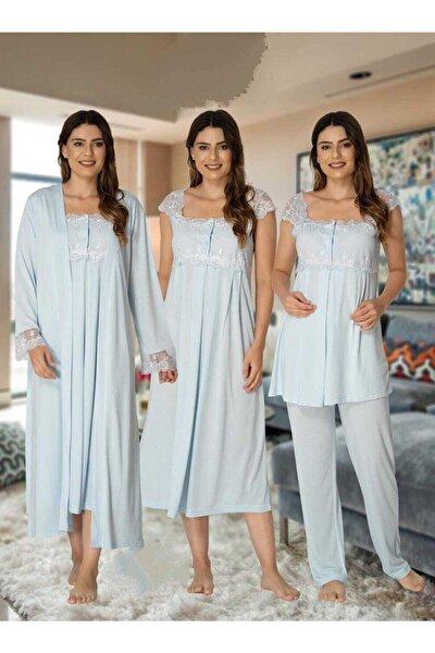 Kadın Mavi E&s Collection Pijama Takımı Gecelik Sabahlık Lohusa Hamile 4'lü Set