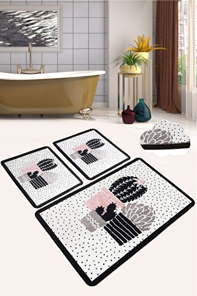 Three Cactus Djt 3 Lü Set Banyo Halısı Paspas Kaymaz Taban Yıkanabilir Klozet Takımı