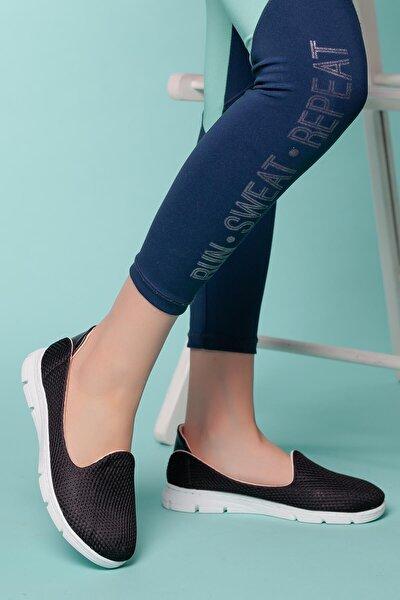 Kadın Siyah Ortopedik Spor Babet Ayakkabı