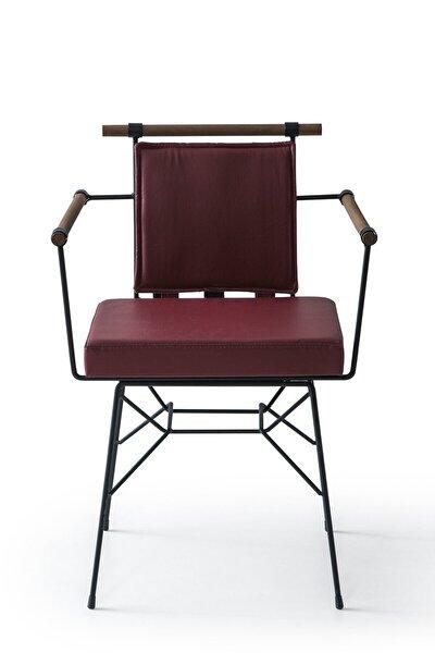 Bordo Deri Penyez Sandalye