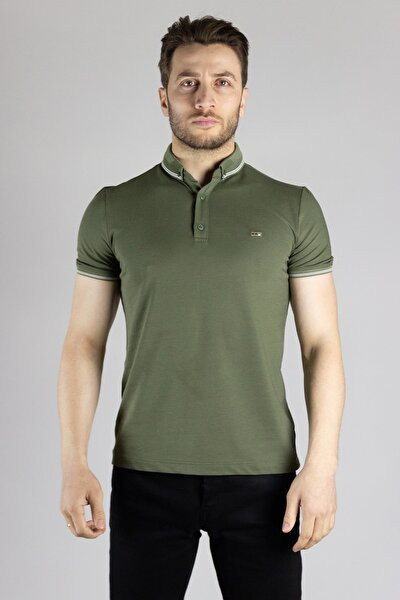 Erkek Haki Polo Yaka T-shirt