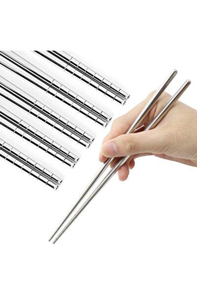Paslanmaz Çelik Metal 5 Takım Chopstick 22,5cm