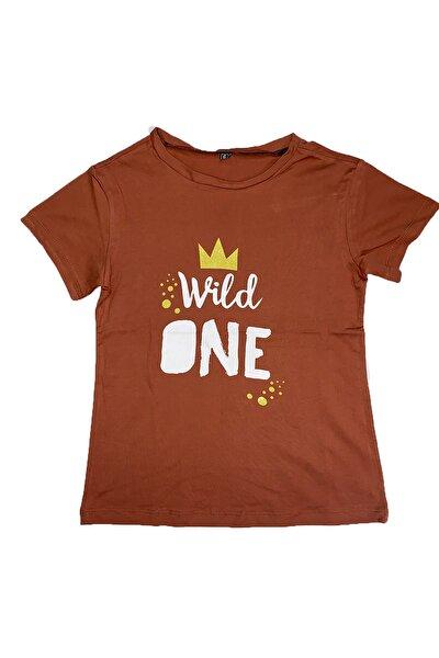 Unisex Çocuk Kahverengi Pamuklu T-shirt