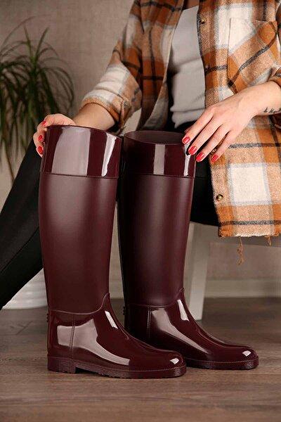 Kadın Bordo Uzun Yağmur Çizmesi