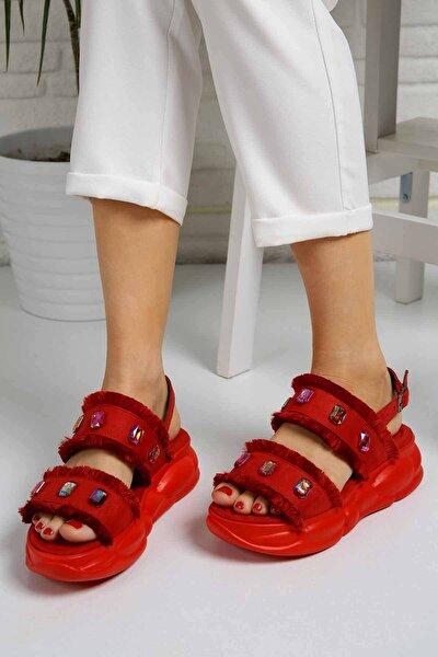 Kadın Kırmızı Süet Taşlı Sandalet - D202