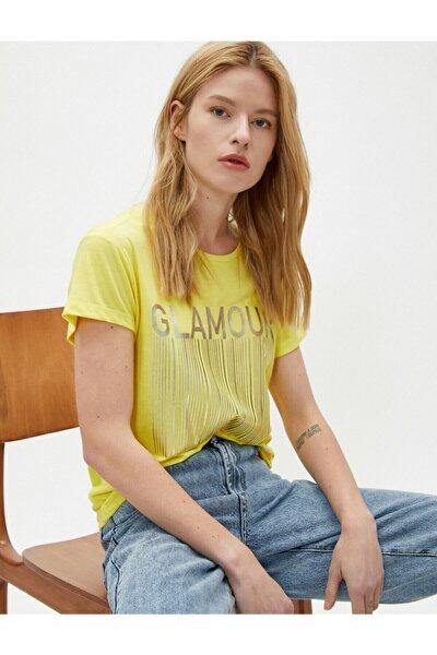 Kadın Sarı Baskılı Bisiklet Yaka Sloganlı T-Shirt