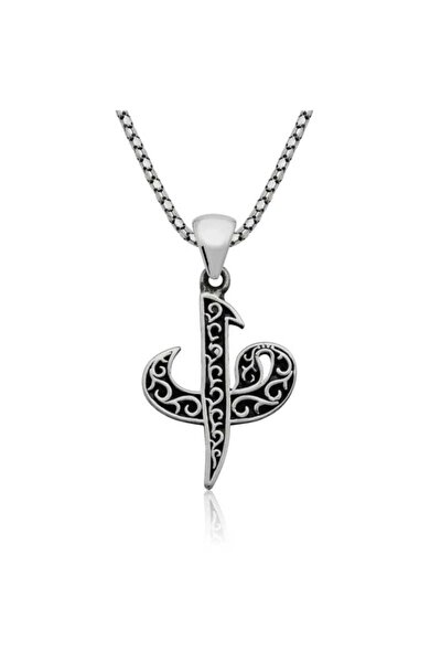 Kadın Gümüş Elif Vav Kolye 864