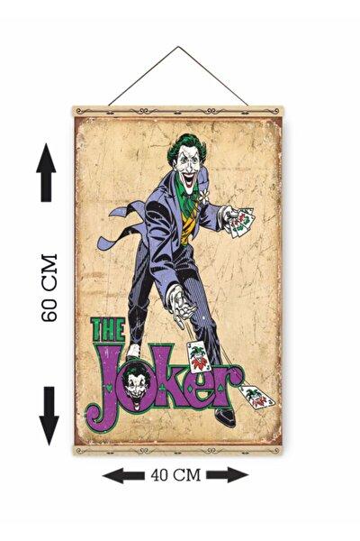 Joker Batman Retro Ahşap Askılı Kanvas Poster