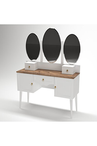 Beyaz Çam Makyaj Masası Şifonyer