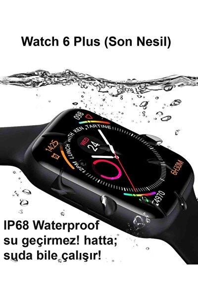 Iphone Ve Android Uyumlu Watch 6 Plus Son Nesil Siyah Yan Düğme Ileri Geri Ve Yakınlaştırma Aktif