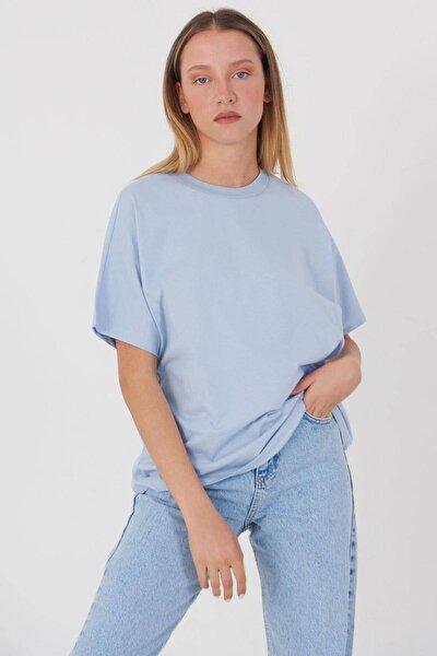 Kadın Buz Mavi Oversize Basic T-Shirt P0730 - J6J7 Adx-0000020569