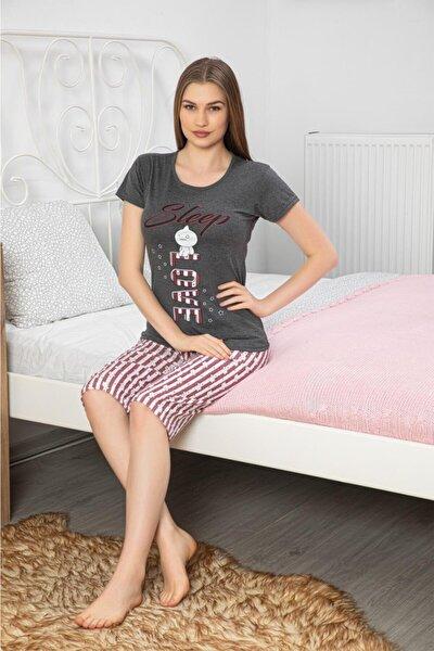 Kadın Pembe Pamuklu Sleep Love Baskılı Kısa Kollu Kaprili Pijama Takımı