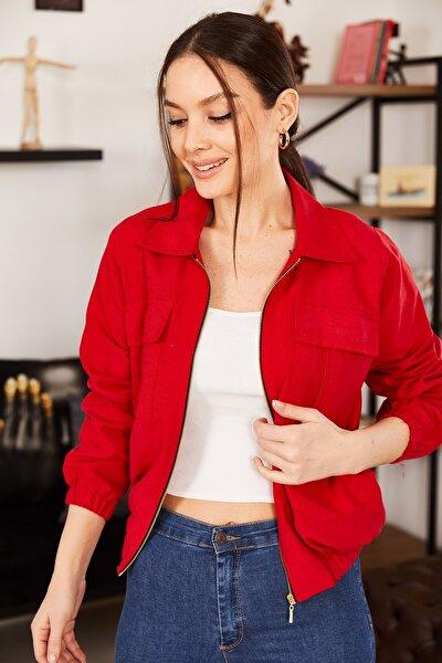 Kadın Kırmızı Cepli Fermuarlı Mevsimlik Ceket ARM-21K001182