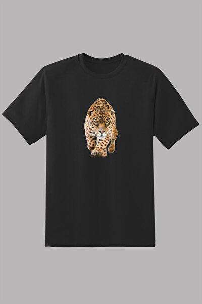 Erkek  Leopar Vahşi Hayvan Baskılı   T-Shirt
