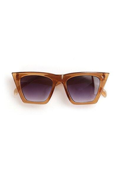 Kadın Bal Kahve Köşeli Cat Eye Çerçeve Füme Camlı Güneş Gözlüğü