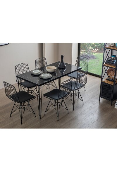 Siyah Oslo Tel 6 Sandalyeli Mutfak Masa Takımı