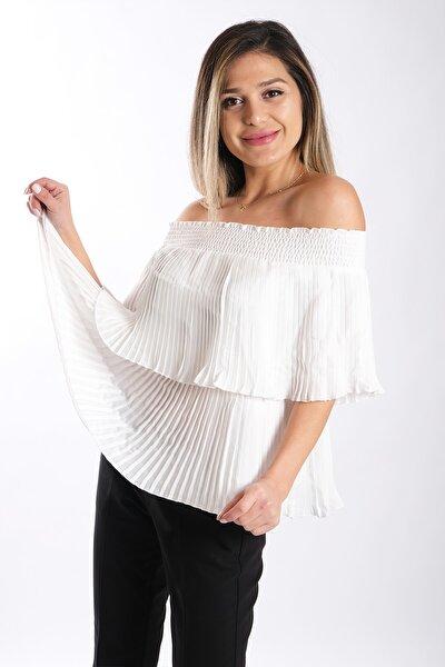 Kadın Pliseli Straplez Bluz